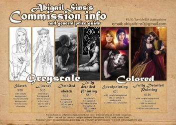 Commission info and general price guide 2018 OPEN by AbigailSins