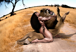 Commission_Zana snuffs a fierce lion by bodyscissorfan