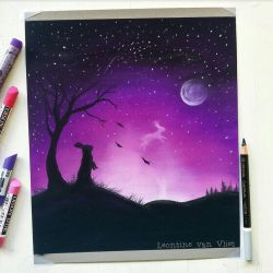 purple night sky by LeontinevanVliet