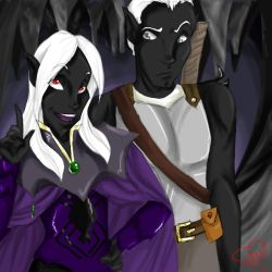 Pharaun and Ryld - Coloured by supermoon10