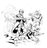 Scifi cover inks by handtoeye