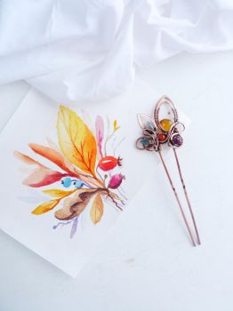 hairpin Autumn Bouquet by UrsulaJewelry