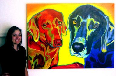 Alicia and Weimaraners by dawgart