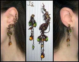 Ripe berries ear cuff and stud by JuliaKotreJewelry