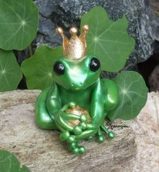 Frog Prince Fairy Tale Sculpture by andromedagallery