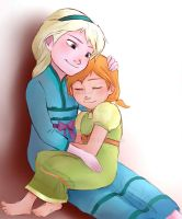 Elsa and Anna as kids by Sango94