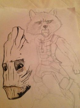 Rocket And Groot (WIP) by Silverfan4EVER123