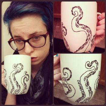 tentacle mug + me by daniellebritton