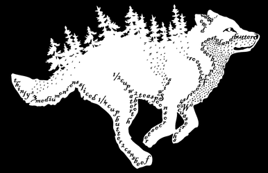 INverse Running Wolf Forest (frenchonionsoup text) by blueshywolf124