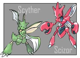 Scyther and Scizor by Tortie-Kittin