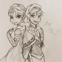 Anna and Elsa by LiuKai
