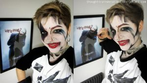 Harley Quinn Comic Book Makeup by thoughttrainderailed