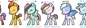 2 Point Ponies Set #2 (CLOSED) by LikelyNotKai