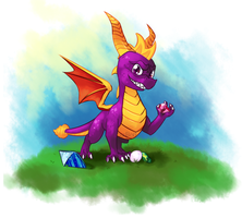 Spyro with the gems by CombotheBeehen