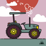 Flat Tractor Illustration by Cealcrest