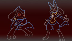 Riolu And Lucario - Neon/Glow by GT4tube