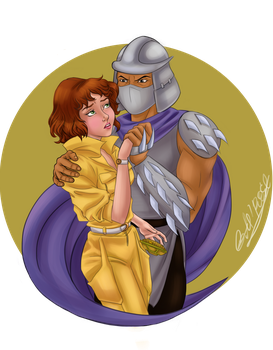 Shredder and April by GoldieMilrose