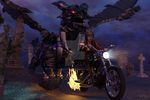 Biker Babe and Mecha Dragon by gadgetanorakprime