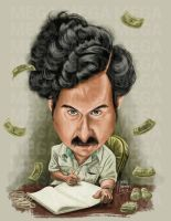 Caricature Pablo Escobar by NataliaBenavides
