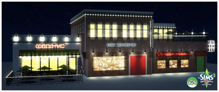 Sims 3: University Life- Sports Bar Exterior by TimothyAndersonArt