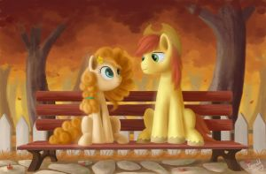 Pear Butter and Bright Macintosh by EmeraldGalaxy