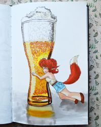 Fox and beer by Irik77
