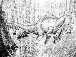 Baryonyx in the swamp by maniraptora