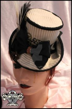 Vanessan Hat in Gold and cream stripe Steampunk by chaotics