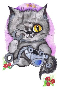 Cat and metallic mouse. by Mauau