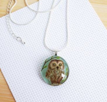 Glass pendant with hand painting. Forest owl by HappyGlassJewelryArt
