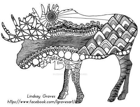 LindsayGraves 0 VERSION 1 Mountainous Moose Coloring Page By