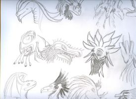 Doodle: dragon heads by Azuria992