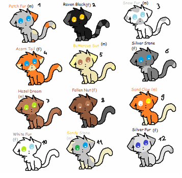 Wariors bredables/adopts by IloveFNAFandsonic