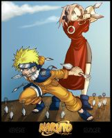Naruto and Sakura by sludger