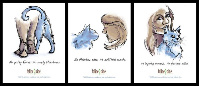 Feline Pine ad series by Schlady