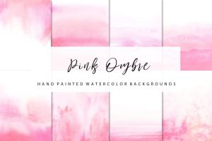 Pink ombre watercolor by GraphicAssets