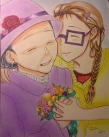 Drawing of a grandma and her granddaughter by Erinaot