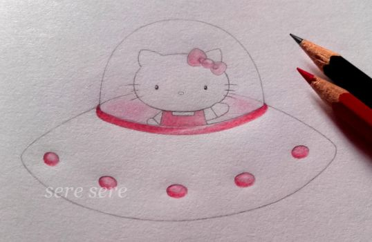 Hello Kitty on a spaceship by seresere