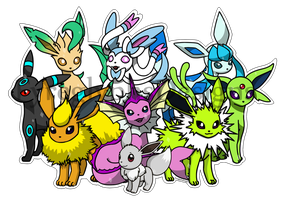 Eeveelutions Sticker - Shiny by Fyreglyphs