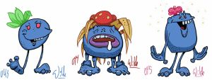 043 Oddish 044 Gloom 045 Vileplume by twitchSKETCH
