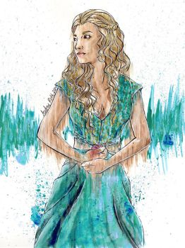 Maergery Tyrell Watercolor by blackxCanary