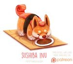 Daily Paint 1523. Sushiba Inu by Cryptid-Creations