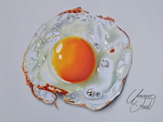 Fried Egg - Colored Pencils by f-a-d-i-l