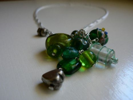 Green beaded necklace by luthienblack