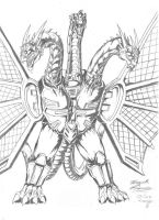 Mecha-King Ghidorah sketch by AlmightyRayzilla