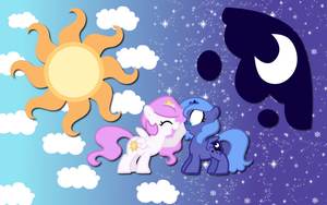 Luna and Celestia wallpaper by AliceHumanSacrifice0