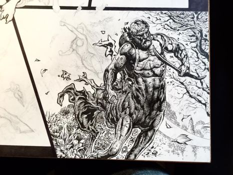 Detail from Wonder Woman spread WIP by LiamSharp
