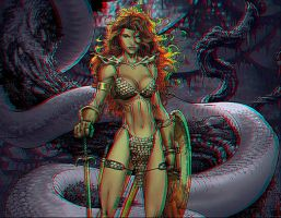 Red Sonja Anaglyph III by Geosammy