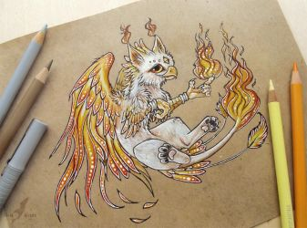 Little gryphon of Fire by AlviaAlcedo