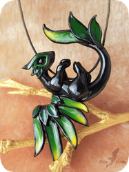 Tropical forest dragon  necklace by AlviaAlcedo